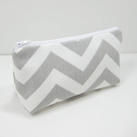 Gray Chevron Pouch, Zippered Accessory Pouch, Cosmetic Pouch, with Zippered Pocket, Gray and White, Ready to Ship