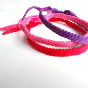 Friendship Bracelet Set - Purple, Pink, Red - Handmade