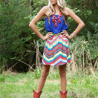 Royal Blue Zig Zag Belted Dress