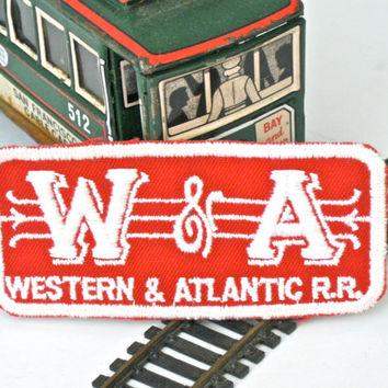 Red and White RailRoad Patch Western & Atlantic Collectible Travel Souvenir Clothing Accessory