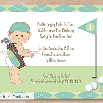 Golf first birthday invitation, golf par tee invite, blue green argyle pattern, one of a kind personalized party invitation. Digital File