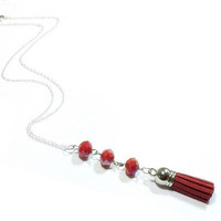 Sterling Silver Tassel Necklace , Faceted Red Crystals , Sterling Silver Chain , Red  Leather Tassel