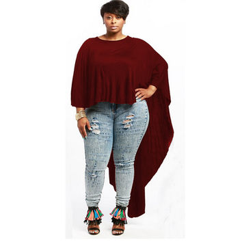 Burgundy Batwing Sleeve Loose Long Back Top