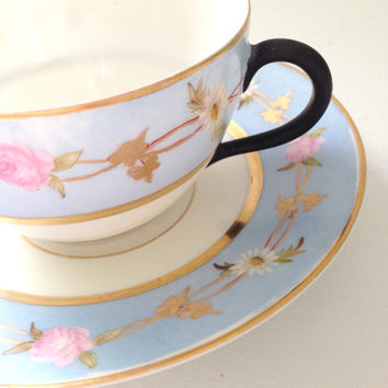 Mid Century H & Co. Bavaria Germany Rare Black Handle Tea Cup and Saucer Tea Party ca. 1877