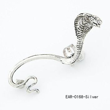 Fashionable Sexy Gothic Punk Cobra Image Unilateral Women Ear Clip Color Antique Silver plated