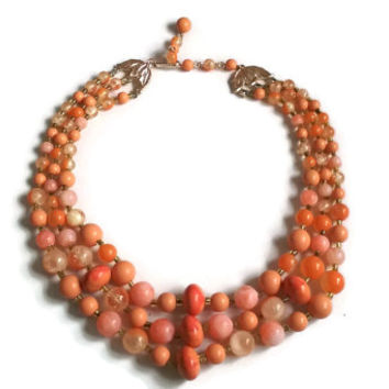 """Lucite Necklace - Vintage 1950's Peach and Pink 3-Strand Necklace - Japan - 14"""" extends to 17"""""""