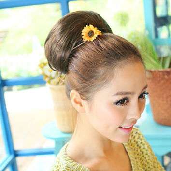 Wedding Bride Women Lady Girl Stylish Wigs Big Hair Bun Hairpiece 3 Colors = 1929903684