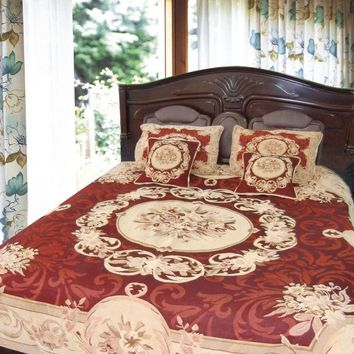 Burgundy Golden Beige Elegant Victorian Floral Medallion Soft Chenille Woven Tapestry Coverlet Bedspread Set - Twin - 3-Pieces (12JPG)