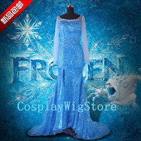 Shiny Elsa Costume Frozen Snow Queen Dress Custom Size For Adult and Kids Cosplay Costume