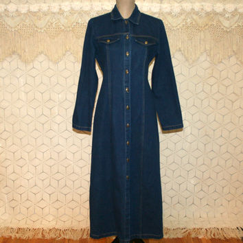 27b4412ab69 90s Long Sleeve Denim Maxi Dress Button Up Jean Dress Small Medium Fitted Denim  Dress Denim
