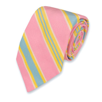 Maybank Stripe Necktie in Pink by High Cotton