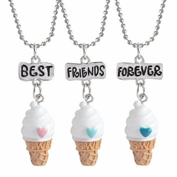 10sets/Lot BFF Jewelry 3pcs Set Best Friend Forever Charm Pendants Choker Love Ice Cream Kids Necklace Collares Grandes De Moda