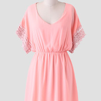 Peach Orchard Crochet Detail Dress