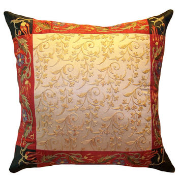 Handmade Suzani Silk Pillow Cover EMP704, Suzani Pillow, Uzbek Suzani, Suzani Throw, Suzani, Decorative pillows, Accent pillows