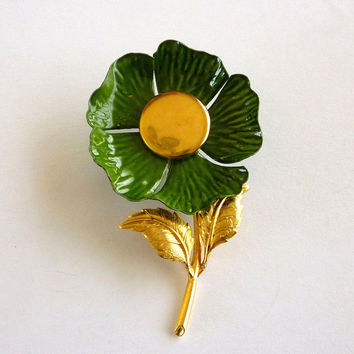 Enamel Flower Pin Brooch, Green Floral Brooch, Enamel Jewelry