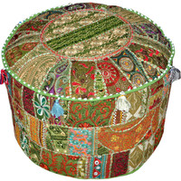 Gypsy Bohemian Pouf Ottoman Vintage Patchwork Indian Pouf Large Round Ottoman Seat Stool Pouffe round cotton stool chair bench foot stool