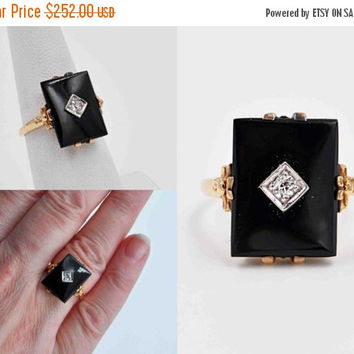 ON SALE Vintage Art Deco 10K Gold, Black Onyx & Diamond Ring, Bow Accents, Rectangular, Prong Set, Open Back, Size 6 3/4, Superb! #b833