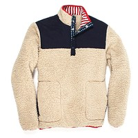 Old Glory Sherpa Pullover in Cream by Southern Proper - FINAL SALE