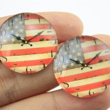 10pcs 25mm/20mm American Flag Clock Photo Pattern Domed Glass Cabochon Handmade Pendant G-0377