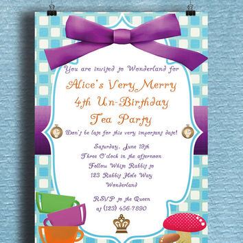 Instant Download-Alice in Wonderland Inspired DIY Printable Birthday Party Baby Girl Shower Invitation Template