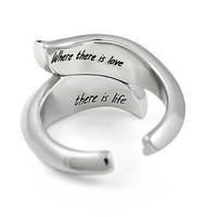 Promise Sisters Ring Two Leaves Purity Ring Stainless Steel Love Ring Promise