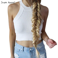 Brandy Melville Women round neck knitted bustier crop top Beach sexy camis off shoulder elastic tube tank tops