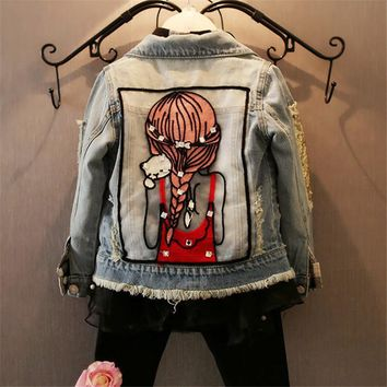 Trendy Children Girls Jackets Cool Kid Long Sleeves Turn-down Collar Buttons Coats Pocket Girl Pattern Denim Outerwear Kids Clothes Hot AT_94_13