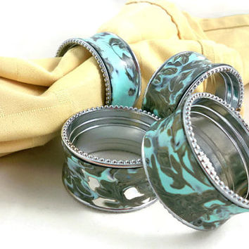 Aqua napkin rings upcycled metallic with polymer clay embellishments