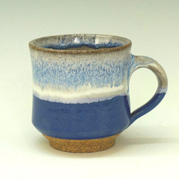 Ceramic mug, blue mug, coffee mug, pottery mug, handmade, stoneware, high fired