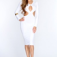 White Cut Out Midsection Sexy Party Dress