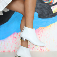 Jeffrey Campbell Shoes PICADILLY Booties in White Silver