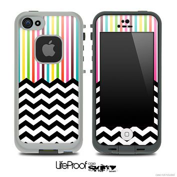 Mixed Neon Bright Striped and Chevron Pattern Skin for the iPhone 5 or 4/4s LifeProof Case