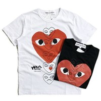 Short Sleeve Emoji Cotton Couple Heart T-shirts
