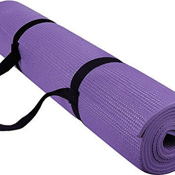 Reehut 1/4-Inch High Density - Exercise Yoga Mat with Carrying Strap for Fitness & Workout (Purple)