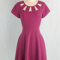 Mid-length Short Sleeves Fit & Flare Make the Final Cutout Dress by ModCloth