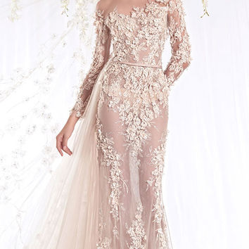 Modern 2016 Sheath Wedding Dresses Illusion bodice one shoulder 3/4 sleeves With Plentiful Lace Appliques Sexy Bridal Gowns