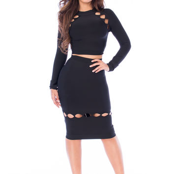 Zeena Cutout Two Piece Bandage Set- Black