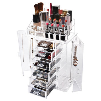 Jewelry and Makeup Cosmetic Beauty Storage Organizer Display Set Clear Acrylic