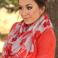 Got Lost In Your Eyes Scarf: Taupe/Red - One