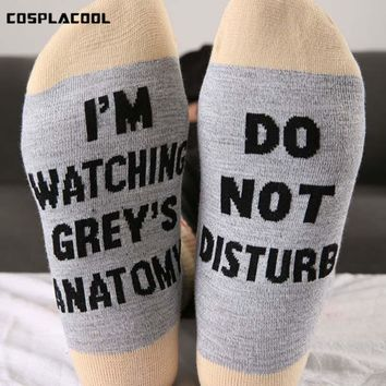 [COSPLACOOL]I'm Watching Grey's Anatomy Funny Socks Humor Words Print Socks Women Unisex Casual Hip Hop 2 Colors Socks Female