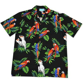cockatoo black hawaiian cotton shirt