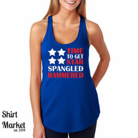 American Flag Time-To-Get-Star-Spangled-Hammered Tank 4th of July Country Tank Top Patriotic Shirt Drinking Tank