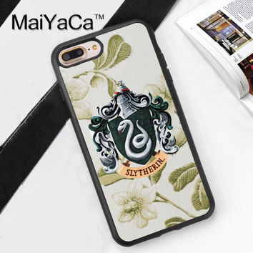 Slytherin Harry Potter Pattern Capa Phone Cases Cover For iPhone 7 7Plus 4S 5S SE 5C 6 6S 6Plus Soft Rubber Back Cover