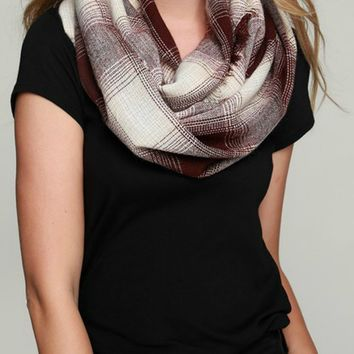 Gradient Plaid Infinity Scarf