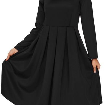 Black Pocket Style High Neck Long Sleeve Skater Dress