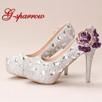 Silver Crystal Wedding Shoes Ultra High Heel Platform Bride Shoes Round Toe Graduation Party Prom Shoes Purple Rhinestone Flower