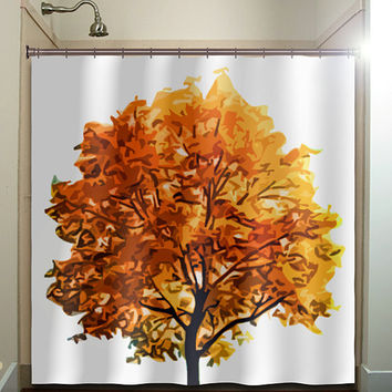 fall colors autumn tree shower curtain bathroom decor fabric kids bath white black custom duvet cover rug mat window