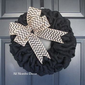 15 Inch Black Burlap Wreath with Black Chevron Bow, Rustic Shabby Chic, Striped Home Spring Easter Summer Fall Thanksgiving Winter
