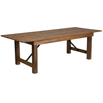 "HERCULES Series 8' x 40"""" Solid Pine Folding Farm Table"""