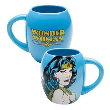 Vandor 75201 Wonder Woman Oval Ceramic Mug, Blue, 18-Ounce